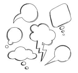Hand-drawn speech bubbles. EPS 8 + jpg