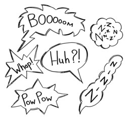 Hand-drawn speech bubbles. EPS 8 + jpg
