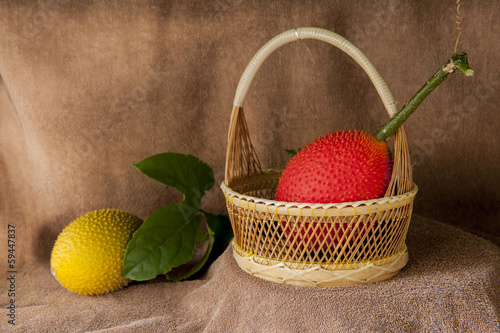 still life with Gac fruit, Baby Jackfruit, Spiny Bitter Gourd, S