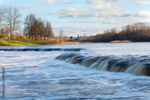 Waterfall on Venta river, Latvia.