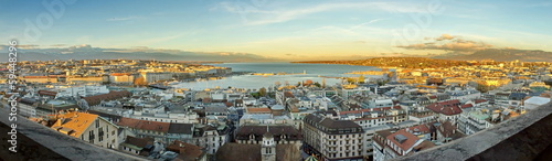 Geneva city and lake panorama, Switzerland