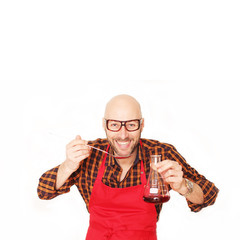 Freudiger Koch der Molekularen Küche