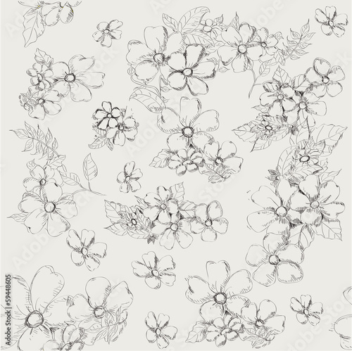 Seamless pattern with decorative poppy flowers on grey