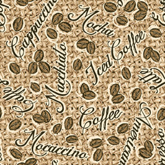 Coffee jute sack, vector seamless pattern