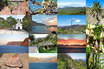 Foto Collage von Sehenswürdigkeiten der Insel La Gomera