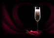 champagne glass on black and red silk - 59449693