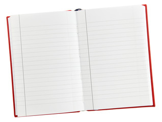 An open blank lined notebook isolated on white