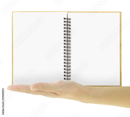 An open blank notebook with spiral