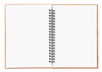Blank notebook with spiral isolated on white