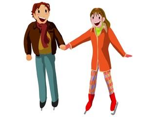 アイススケート場のカップル