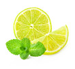 Fresh lemon and mint, Isolated on white background