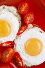 fried egg with red plate and cherry tomatoes
