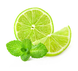 Fresh lime and mint, Isolated on white background