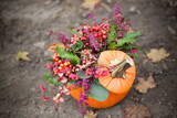 fall decoration with pumpkin