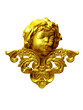 golden head of a cupid angel with arabesque ornament