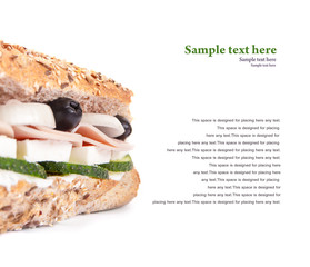 Close up of a sandwich isolated on white