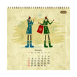 Girls retro calendar 2014 for your design, january
