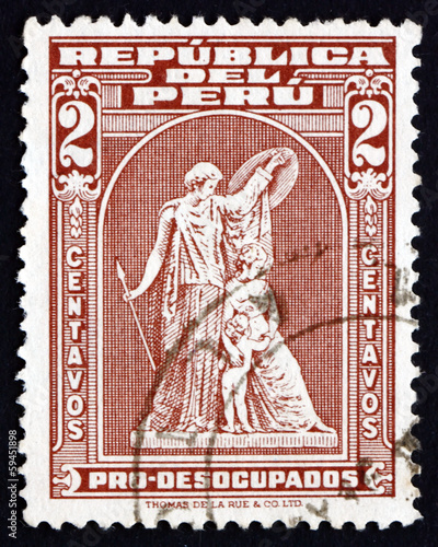 Postage stamp Peru 1938 Protection, by John Q. A. Ward