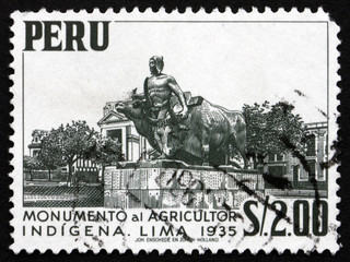 Postage stamp Peru 1960 Monument to Native Farmer, Lima