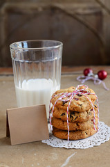 Dried cranberry cookies and glass of milk