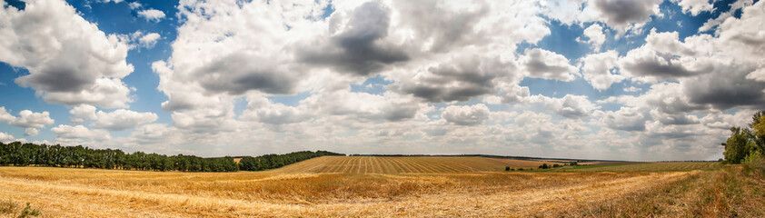 Wonderful panorama of countryside with cloudy sky and harvested