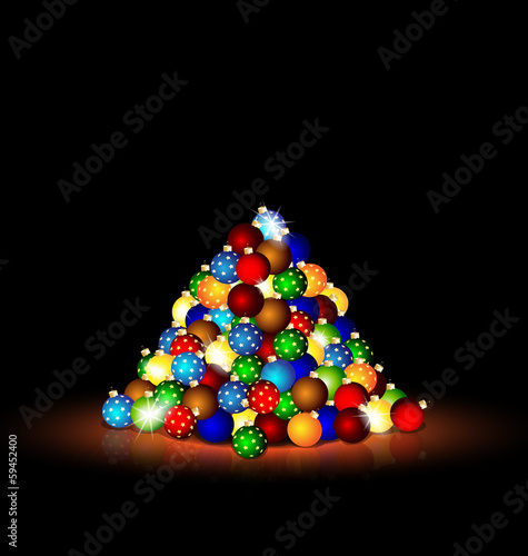Christmas balls in the dark room