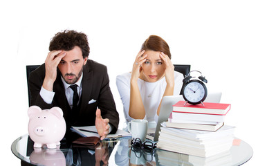 Stressed couple from financial problems