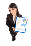Businesswoman showing business graphs
