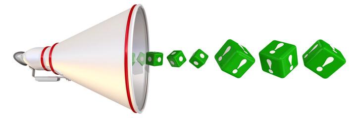 Ответы. Кубики с восклицательными знаками вылетают из рупора
