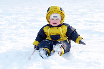 crying baby in winter outdoors
