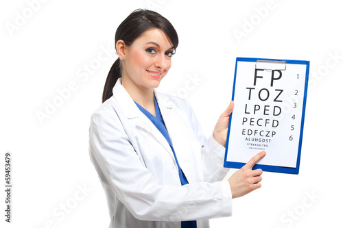 Female optician doctor showing eye chart
