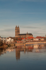 Magdeburg's Cathedral at sunrise in Winter time, Germany