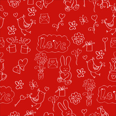 A seamless pattern Valentine's day with the hare, letter,