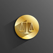 """SCALES OF JUSTICE"" Button (rights legal advice law icon gold)"
