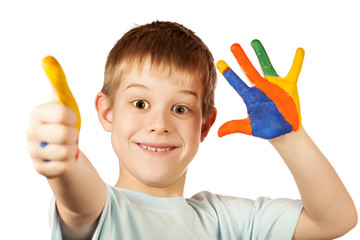 smiling happy boy with stained coloured hand