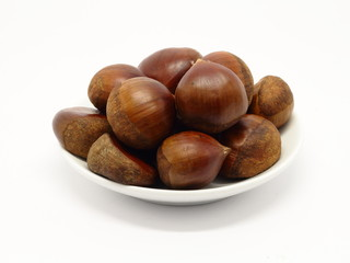 Pile of chestnuts on ceramic plate