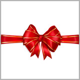 Red bow with horizontal ribbons with golden strips