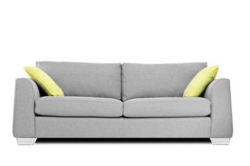 Studio shot of a modern couch with pillows