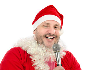 Happy man in Santa Suit Costume singing