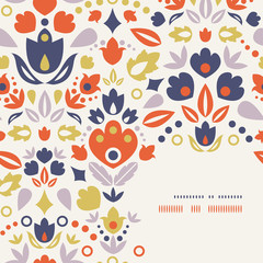 Vector ornamental folk tulips corner frame pattern background