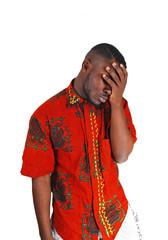 Sad young black man.