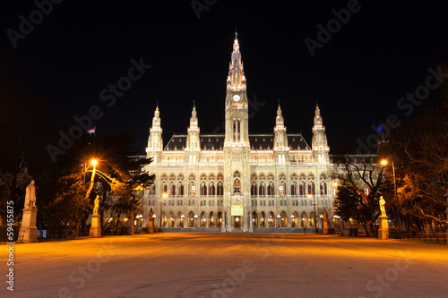 Night scene with town hall in Vienna