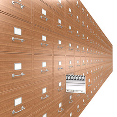 Organize. Wooden File Cabinets. Open drawer.
