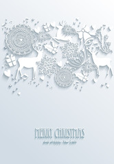 White Merry Christmas and Happy New Year greeting poster