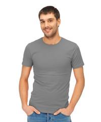 man in blank grey t-shirt