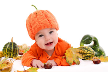 Baby Infant Orange Jack O Lantern Pumkin Outfit