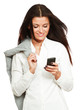 Happy businesswoman using mobile phone, smiling
