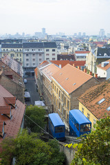 View on Zagreb's funicular from the old upper city