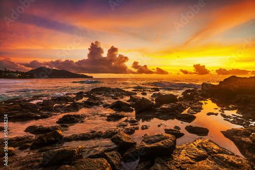 Fotobehang Overige Tropical beach at sunset.