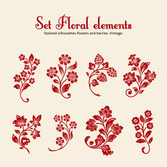 Vector set of vintage floral elements.